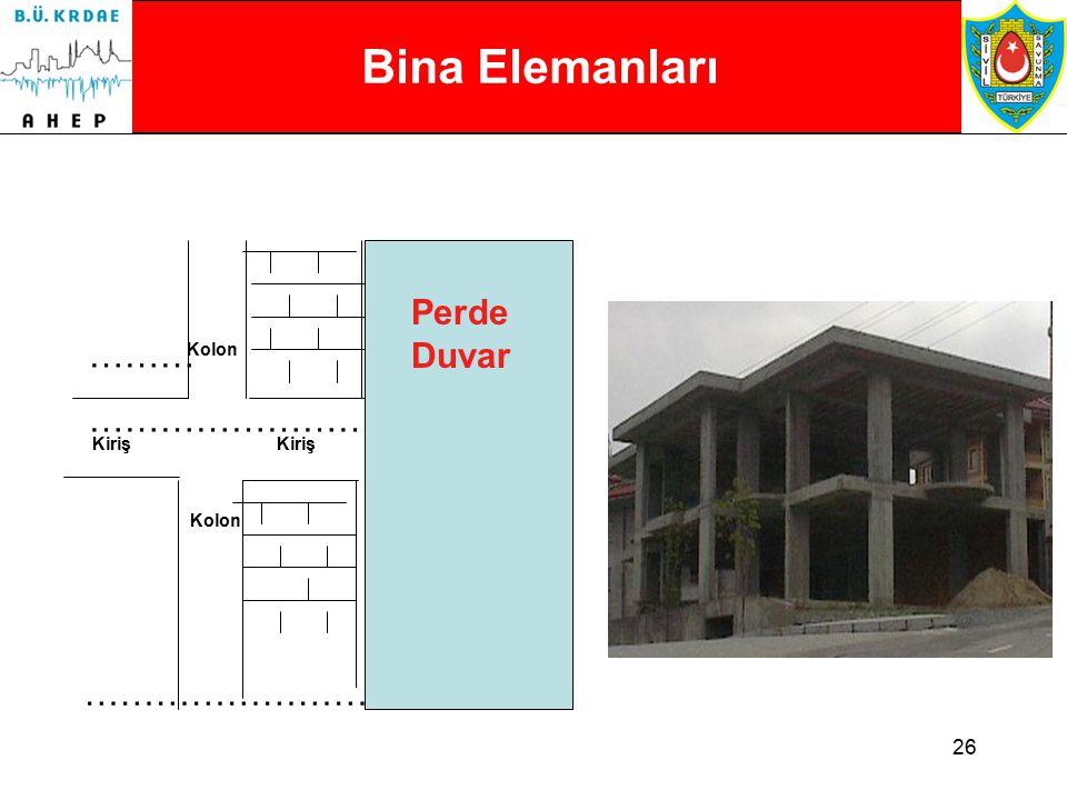 25 Bina Elemanları (Özellikle Betonarme) YapısalYapısal Olmayan Düşey Kolonlar Perde Duvarlar Dolgu Duvarlar Bölme Duvarları Pencereler Yatay Kirişler Döşeme Çatı Temel Asma Tavanlar Bağlantılar Kolon-Kiriş Bağlantıları Kiriş-Kiriş Bağlantıları Kolon veya Kirişlerin Yapısal olmayan dolgu duvarlar ile bağlantıları