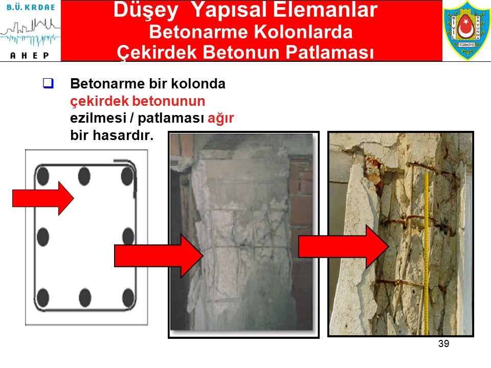 38 Düşey Yapısal Elemanlar Betonarme Kolonlarda Kabuk Dökülmeleri  Betonarme kolonlardaki kabuk dökülmeleri bir hafif hasar işaretidir.