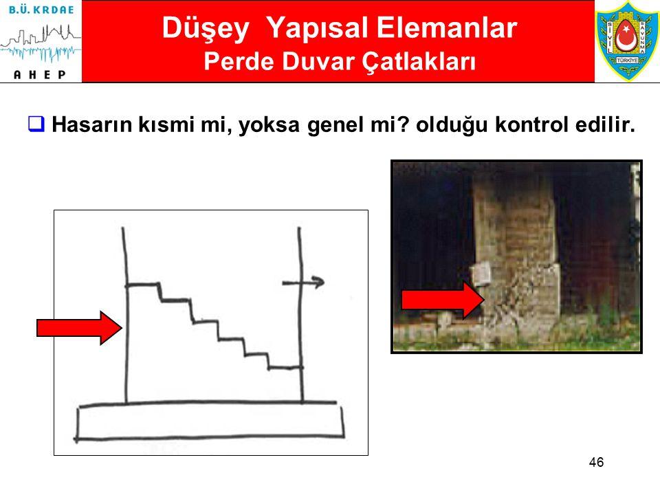 45 Düşey Yapısal Elemanlar Taşıyıcı Duvarların Ayrılması  Taşıyıcı Duvarların Ayrılması ciddi hasar anlamına gelebilir.