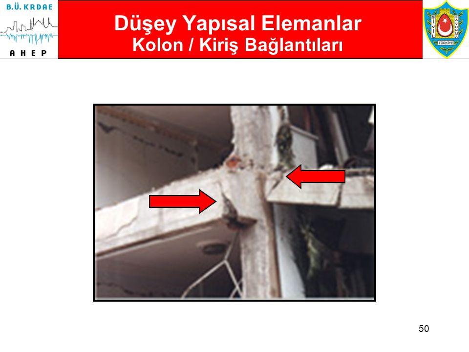 49 Düşey Yapısal Elemanlar Kolon / Kiriş Bağlantıları  Çatlamış veya ezilmiş kolon / kiriş bağlantıları çok tehlikelidir.