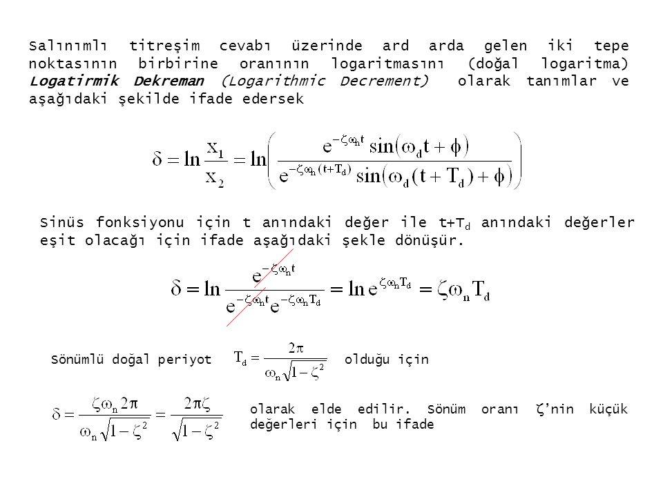 YAPISAL SÖNÜMLEME (STRUCTURAL DAMPING) Harmonik zorlama durumu için, titreşim frekansı ω, harmonik titreşim genliği X, sönüm katsayısı c olan bir sistem için bir döngü için (cycle) enerji yutumu aşağıdaki şekilde ifade edilmiş idi.