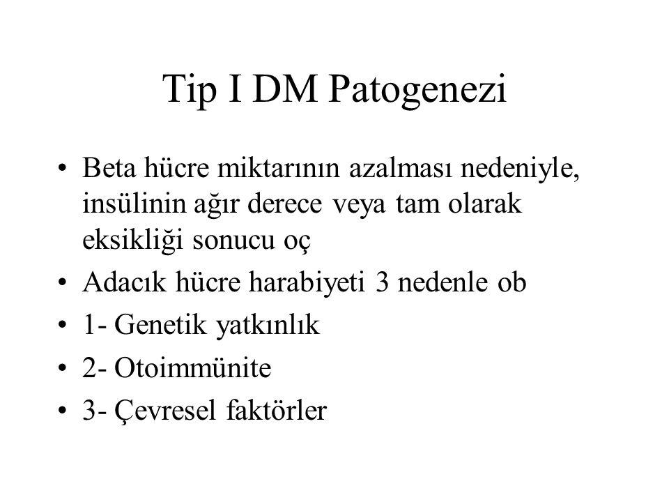 Tip I DM Patogenezi Beta hücre miktarının azalması nedeniyle, insülinin ağır derece veya tam olarak eksikliği sonucu oç Adacık hücre harabiyeti 3 nede