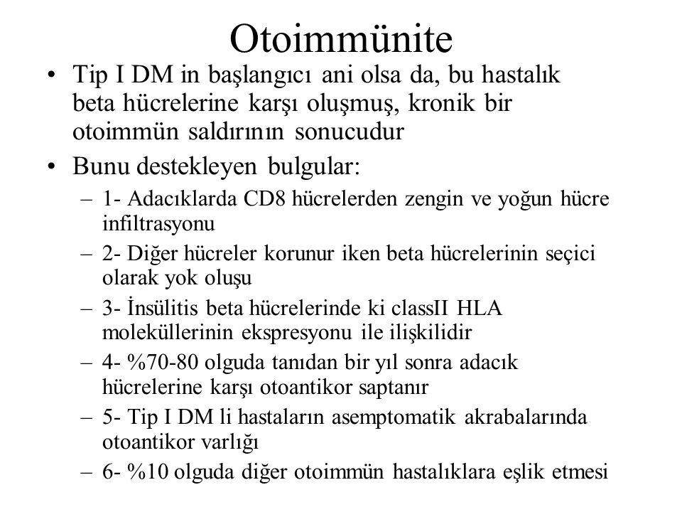 Otoimmünite Tip I DM in başlangıcı ani olsa da, bu hastalık beta hücrelerine karşı oluşmuş, kronik bir otoimmün saldırının sonucudur Bunu destekleyen