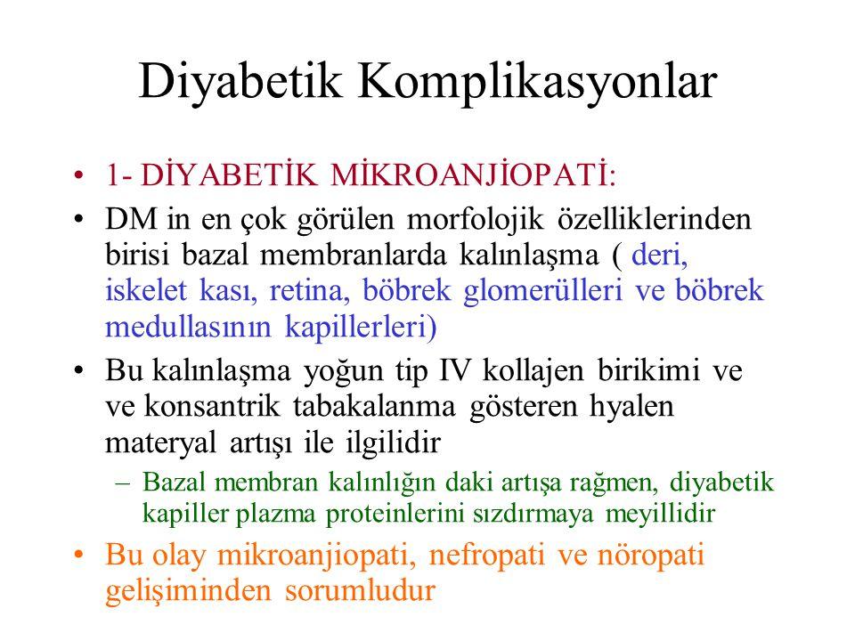 Diyabetik Komplikasyonlar 1- DİYABETİK MİKROANJİOPATİ: DM in en çok görülen morfolojik özelliklerinden birisi bazal membranlarda kalınlaşma ( deri, is