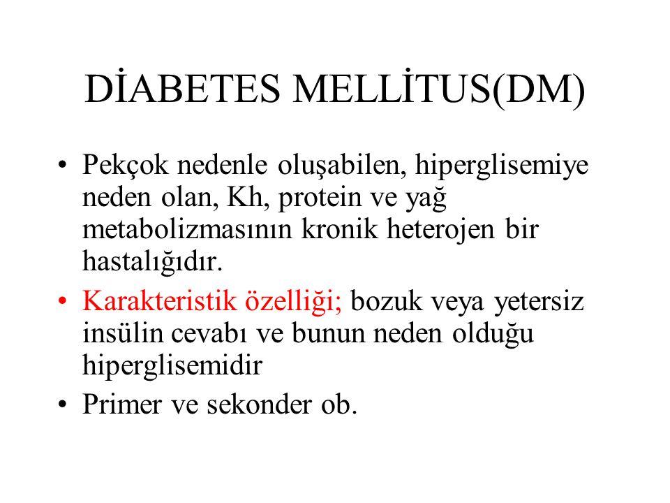 DİABETES MELLİTUS(DM) Pekçok nedenle oluşabilen, hiperglisemiye neden olan, Kh, protein ve yağ metabolizmasının kronik heterojen bir hastalığıdır.