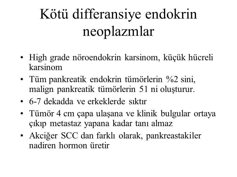 Kötü differansiye endokrin neoplazmlar High grade nöroendokrin karsinom, küçük hücreli karsinom Tüm pankreatik endokrin tümörlerin %2 sini, malign pankreatik tümörlerin 51 ni oluşturur.