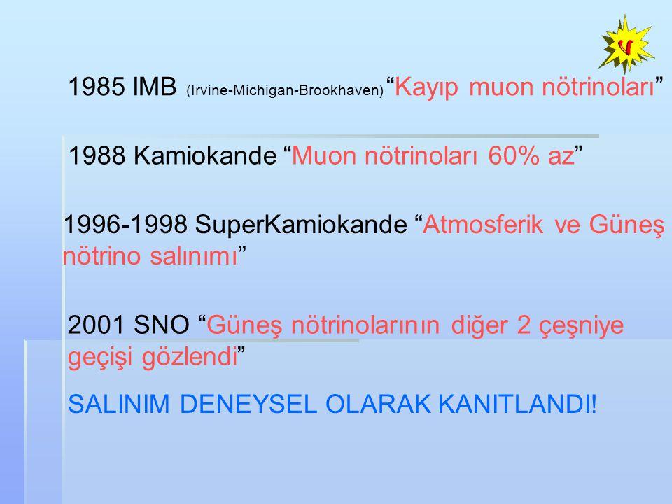 1985 IMB (Irvine-Michigan-Brookhaven) Kayıp muon nötrinoları 1996-1998 SuperKamiokande Atmosferik ve Güneş nötrino salınımı 1988 Kamiokande Muon nötrinoları 60% az 2001 SNO Güneş nötrinolarının diğer 2 çeşniye geçişi gözlendi SALINIM DENEYSEL OLARAK KANITLANDI!