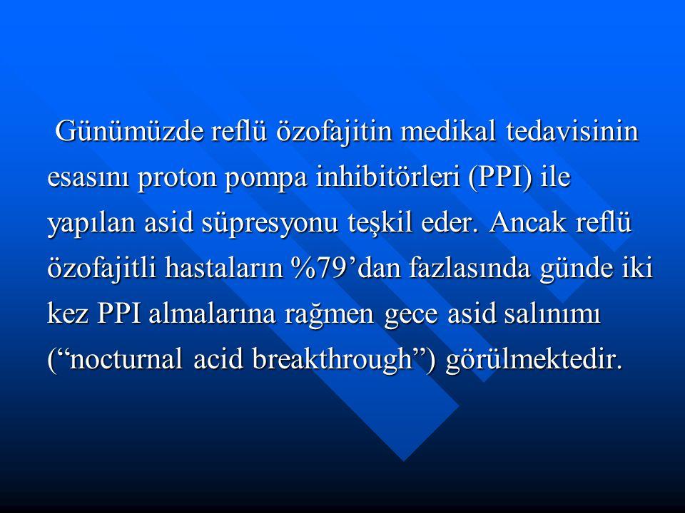 Günümüzde reflü özofajitin medikal tedavisinin esasını proton pompa inhibitörleri (PPI) ile yapılan asid süpresyonu teşkil eder. Ancak reflü özofajitl