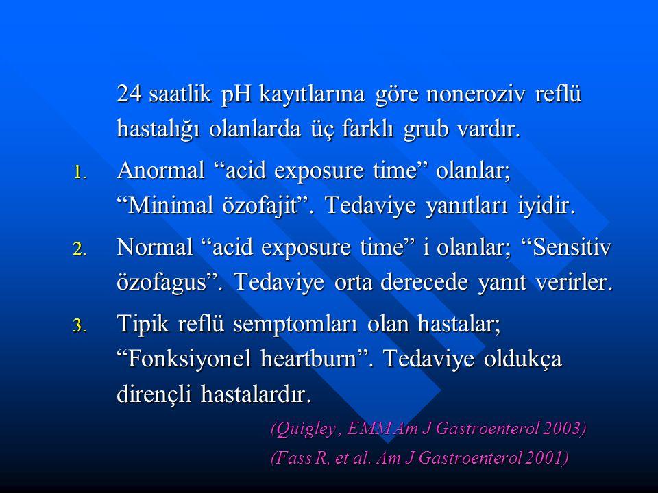 """24 saatlik pH kayıtlarına göre noneroziv reflü hastalığı olanlarda üç farklı grub vardır. 1. Anormal """"acid exposure time"""" olanlar; """"Minimal özofajit""""."""