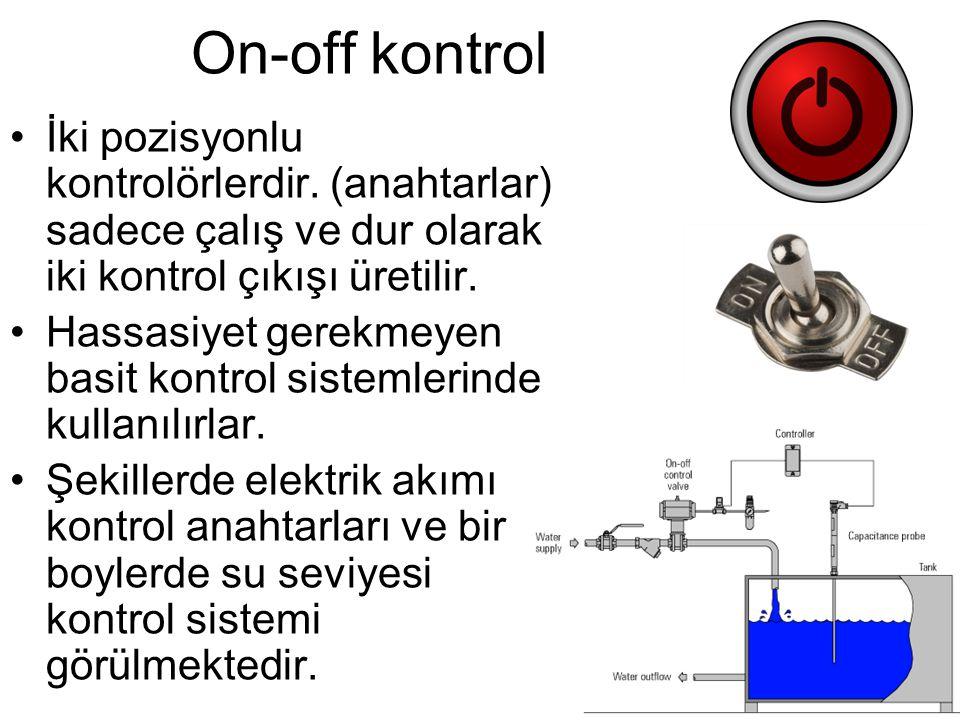 On-off girdili oda sıcaklığı kontrolü Sıcaklık ayarlanan değerin üstündeyse ısıtıcı çalışmaz, üstünde değilse çalışır.