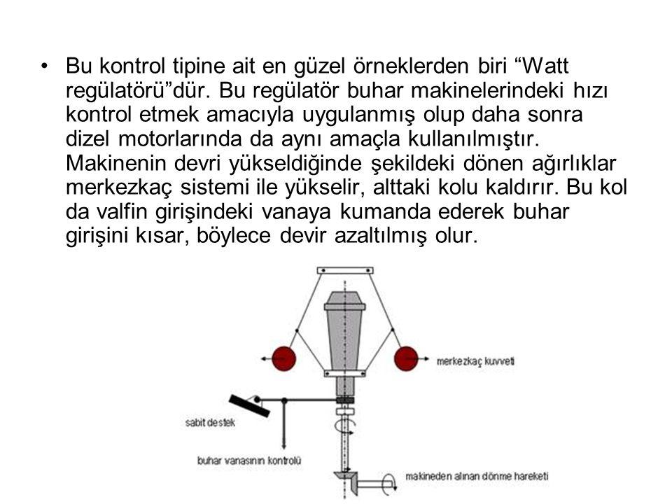 Bu kontrol tipine ait en güzel örneklerden biri Watt regülatörü dür.