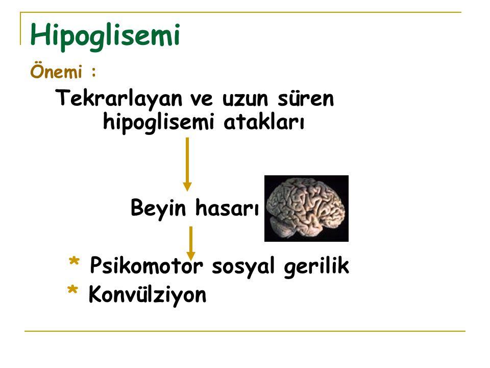 Hipoglisemi Önemi : Tekrarlayan ve uzun süren hipoglisemi atakları Beyin hasarı * Psikomotor sosyal gerilik * Konvülziyon