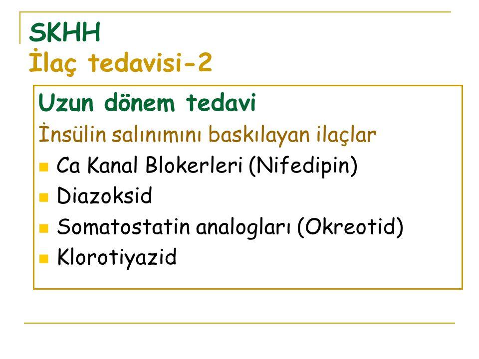 SKHH İlaç tedavisi-2 Uzun dönem tedavi İnsülin salınımını baskılayan ilaçlar Ca Kanal Blokerleri (Nifedipin) Diazoksid Somatostatin analogları (Okreotid) Klorotiyazid