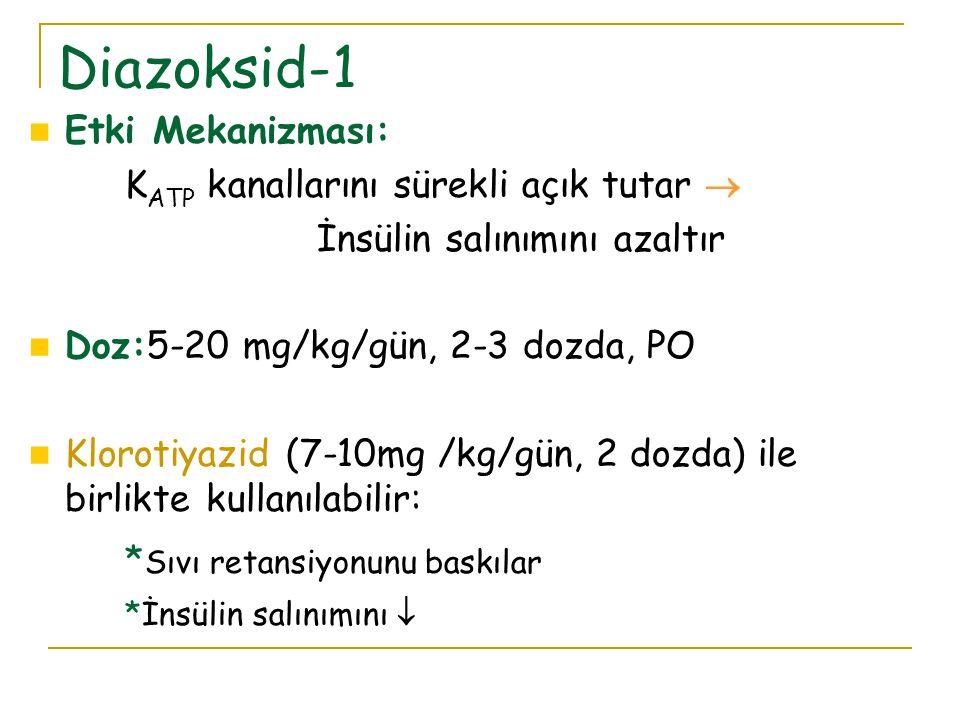 Etki Mekanizması: K ATP kanallarını sürekli açık tutar  İnsülin salınımını azaltır Doz:5-20 mg/kg/gün, 2-3 dozda, PO Klorotiyazid (7-10mg /kg/gün, 2 dozda) ile birlikte kullanılabilir: * Sıvı retansiyonunu baskılar *İnsülin salınımını  Diazoksid-1