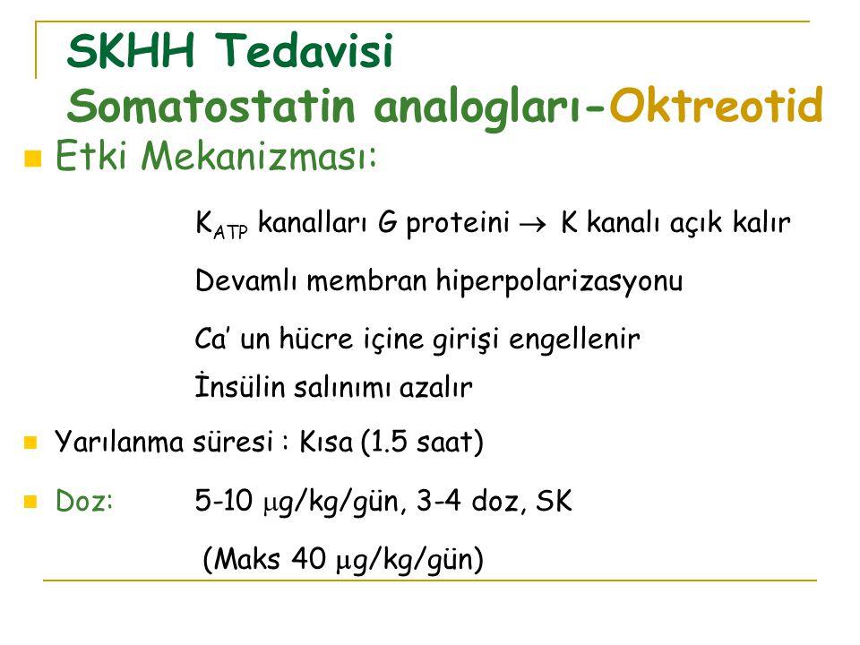 Etki Mekanizması: K ATP kanalları G proteini  K kanalı açık kalır Devamlı membran hiperpolarizasyonu Ca' un hücre içine girişi engellenir İnsülin salınımı azalır Yarılanma süresi : Kısa (1.5 saat) Doz:5-10  g/kg/gün, 3-4 doz, SK (Maks 40  g/kg/gün) SKHH Tedavisi Somatostatin analogları-Oktreotid