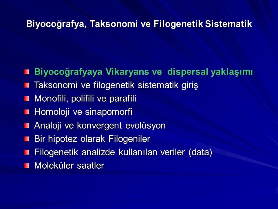 Biyocoğrafya, Taksonomi ve Filogenetik Sistematik Biyocoğrafyaya Vikaryans ve dispersal yaklaşımı Taksonomi ve filogenetik sistematik giriş Monofili,