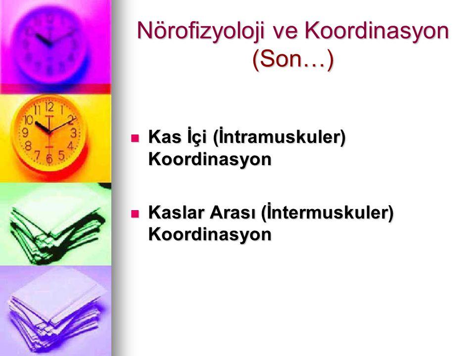 Nörofizyoloji ve Koordinasyon (Son…) Kas İçi (İntramuskuler) Koordinasyon Kas İçi (İntramuskuler) Koordinasyon Kaslar Arası (İntermuskuler) Koordinasy