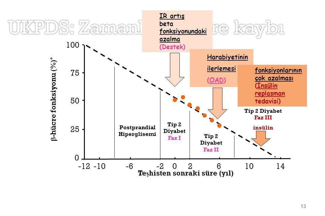  -hücre fonksiyonu (%) * Postprandial Hiperglisemi Tip 2 Diyabet Faz I Tip 2 Diyabet Faz II Tip 2 Diyabet Faz III insülin 25 100 75 0 50 -12-10-6-202 6 1014 Te ş histen sonraki süre (yıl) 13 IR artış beta fonksiyonundaki azalma (Destek) Harabiyetinin ilerlemesi (OAD) fonksiyonlarının çok azalması (İnsülin replasman tedavisi)