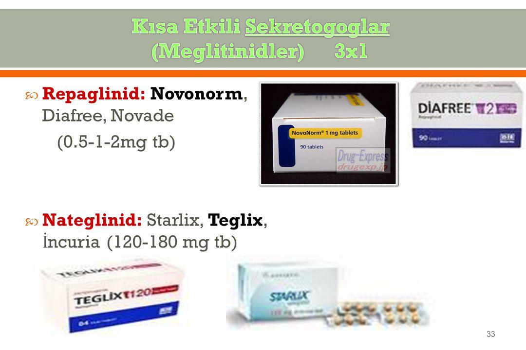  Repaglinid: Novonorm, Diafree, Novade (0.5-1-2mg tb)  Nateglinid: Starlix, Teglix, İ ncuria (120-180 mg tb) 33