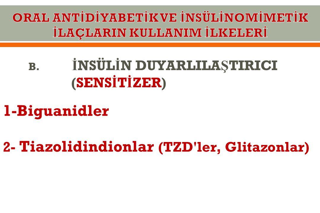 B. İ NSÜL İ N DUYARLILA Ş TIRICI (SENS İ T İ ZER) 1-Biguanidler 2- Tiazolidindionlar (TZD'ler, Glitazonlar)