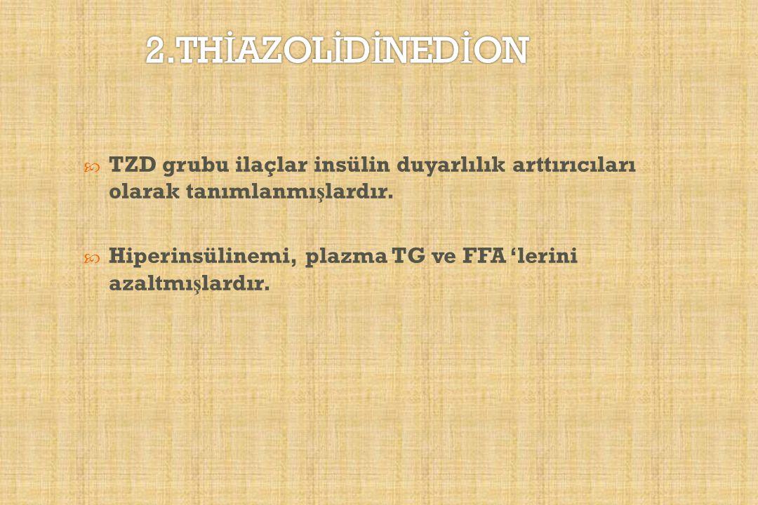  TZD grubu ilaçlar insülin duyarlılık arttırıcıları olarak tanımlanmı ş lardır.