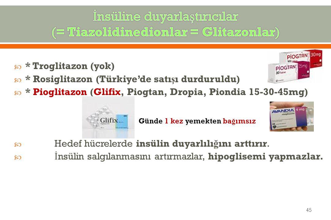  * Troglitazon (yok)  * Rosiglitazon (Türkiye'de satı ş ı durduruldu)  * Pioglitazon (Glifix, Piogtan, Dropia, Piondia 15-30-45mg)  Hedef hücrelerde insülin duyarlılı ğ ını arttırır.