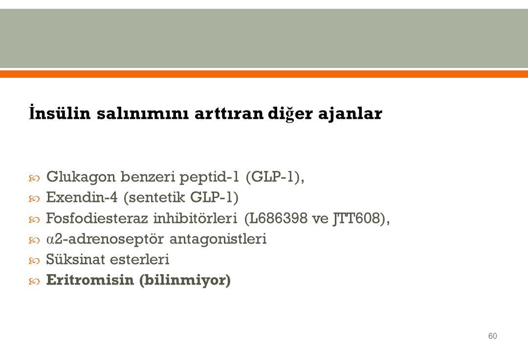 İ nsülin salınımını arttıran di ğ er ajanlar  Glukagon benzeri peptid-1 (GLP-1),  Exendin-4 (sentetik GLP-1)  Fosfodiesteraz inhibitörleri (L686398 ve JTT608),  α 2-adrenoseptör antagonistleri  Süksinat esterleri  Eritromisin (bilinmiyor) 60