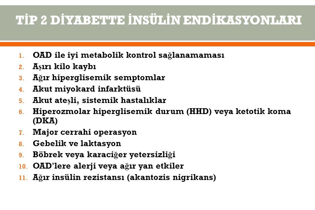 1.OAD ile iyi metabolik kontrol sa ğ lanamaması 2.