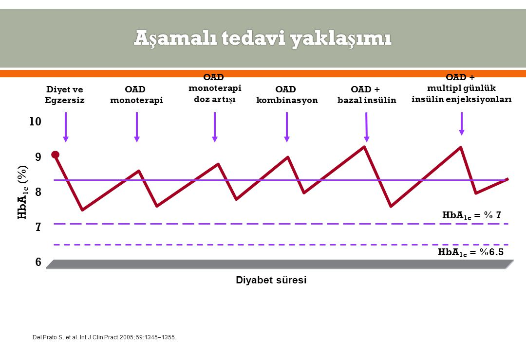 7 6 9 8 HbA 1c (%) 10 OAD monoterapi Diyet ve Egzersiz OAD kombinasyon OAD + bazal insülin OAD monoterapi doz artı ş ı Diyabet süresi OAD + multipl günlük insülin enjeksiyonları HbA 1c = % 7 Del Prato S, et al.