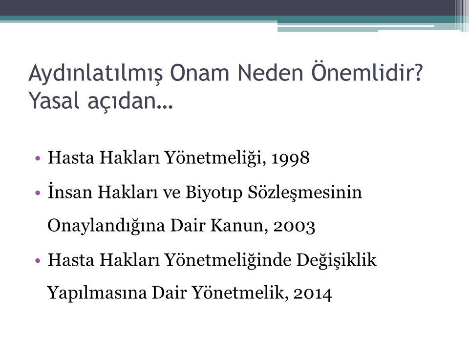 Aydınlatılmış Onam Neden Önemlidir? Yasal açıdan… Hasta Hakları Yönetmeliği, 1998 İnsan Hakları ve Biyotıp Sözleşmesinin Onaylandığına Dair Kanun, 200
