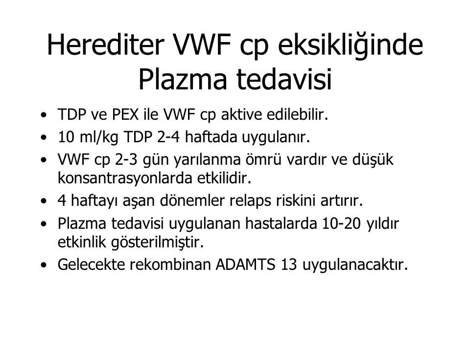 Herediter VWF cp eksikliğinde Plazma tedavisi TDP ve PEX ile VWF cp aktive edilebilir.