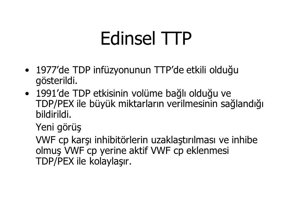 Edinsel TTP 1977'de TDP infüzyonunun TTP'de etkili olduğu gösterildi.