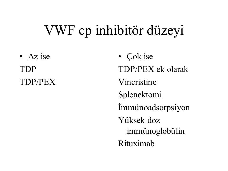 VWF cp inhibitör düzeyi Az ise TDP TDP/PEX Çok ise TDP/PEX ek olarak Vincristine Splenektomi İmmünoadsorpsiyon Yüksek doz immünoglobülin Rituximab