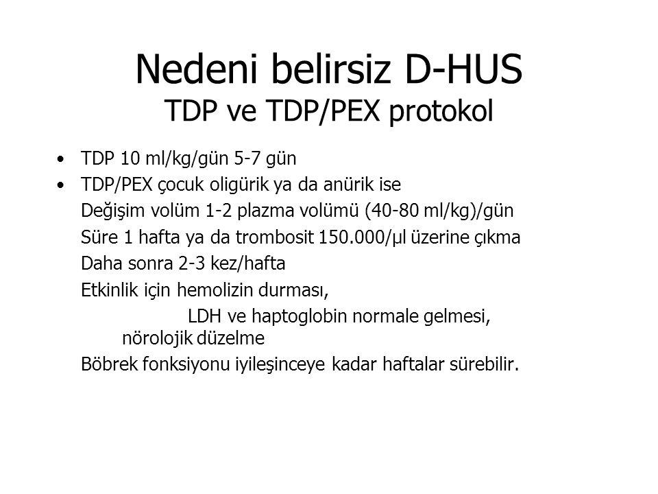 Nedeni belirsiz D-HUS TDP ve TDP/PEX protokol TDP 10 ml/kg/gün 5-7 gün TDP/PEX çocuk oligürik ya da anürik ise Değişim volüm 1-2 plazma volümü (40-80 ml/kg)/gün Süre 1 hafta ya da trombosit 150.000/µl üzerine çıkma Daha sonra 2-3 kez/hafta Etkinlik için hemolizin durması, LDH ve haptoglobin normale gelmesi, nörolojik düzelme Böbrek fonksiyonu iyileşinceye kadar haftalar sürebilir.