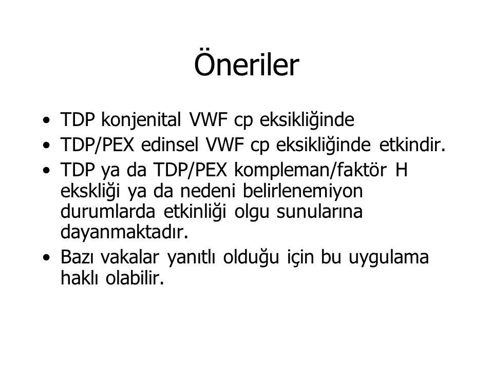 Öneriler TDP konjenital VWF cp eksikliğinde TDP/PEX edinsel VWF cp eksikliğinde etkindir.