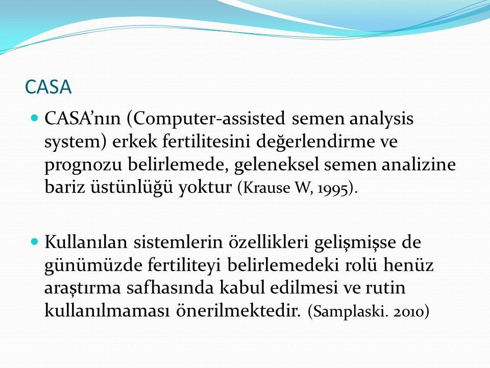 CASA CASA'nın (Computer-assisted semen analysis system) erkek fertilitesini değerlendirme ve prognozu belirlemede, geleneksel semen analizine bariz üstünlüğü yoktur (Krause W, 1995).
