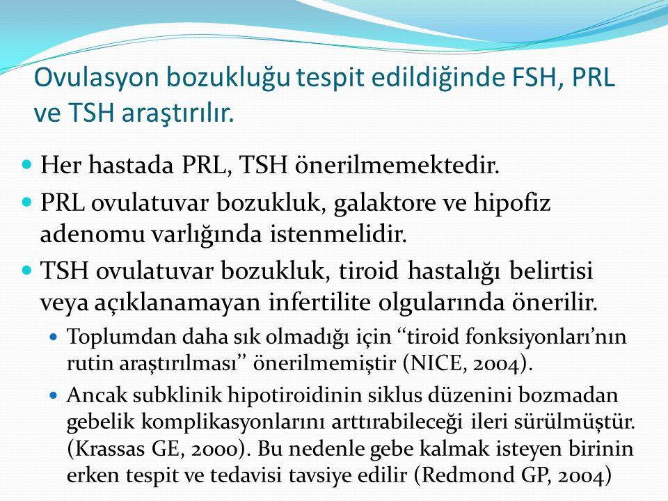 Ovulasyon bozukluğu tespit edildiğinde FSH, PRL ve TSH araştırılır. Her hastada PRL, TSH önerilmemektedir. PRL ovulatuvar bozukluk, galaktore ve hipof
