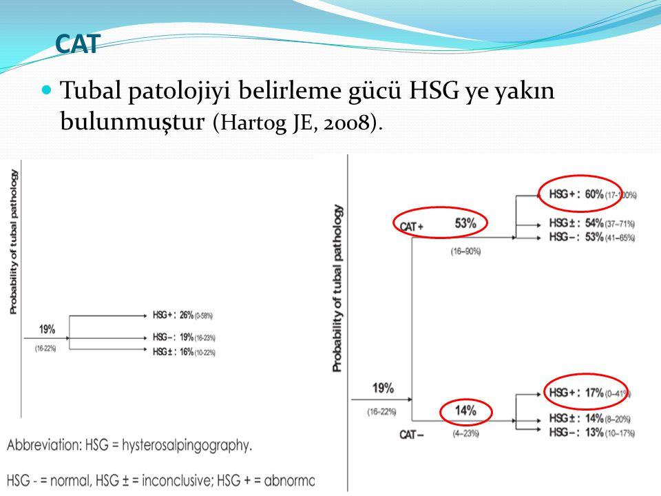 CAT Tubal patolojiyi belirleme gücü HSG ye yakın bulunmuştur (Hartog JE, 2008).