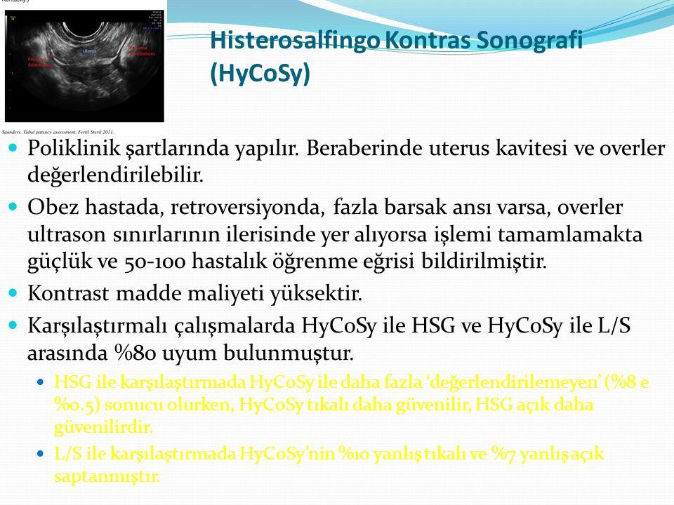 Histerosalfingo Kontras Sonografi (HyCoSy) Poliklinik şartlarında yapılır. Beraberinde uterus kavitesi ve overler değerlendirilebilir. Obez hastada, r