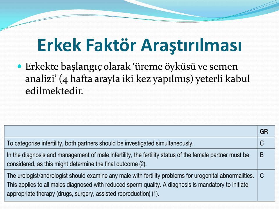 Erkek Faktör Araştırılması Erkekte başlangıç olarak 'üreme öyküsü ve semen analizi' (4 hafta arayla iki kez yapılmış) yeterli kabul edilmektedir.