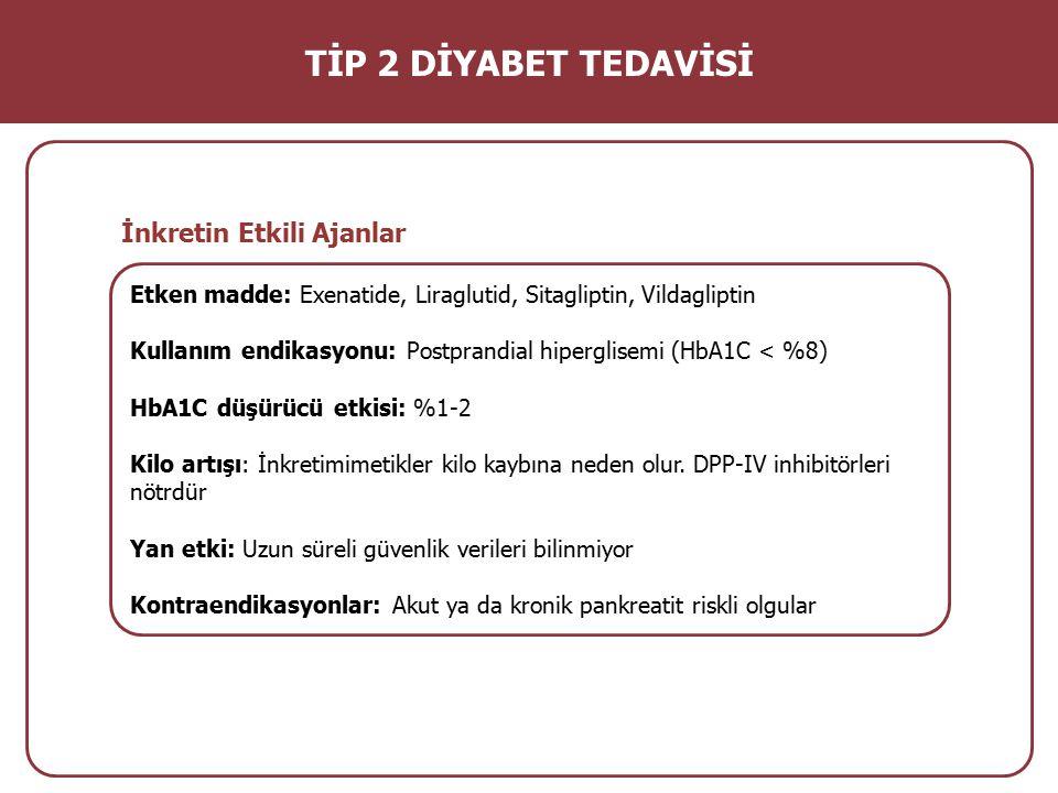 Etken madde: Exenatide, Liraglutid, Sitagliptin, Vildagliptin Kullanım endikasyonu: Postprandial hiperglisemi (HbA1C < %8) HbA1C düşürücü etkisi: %1-2