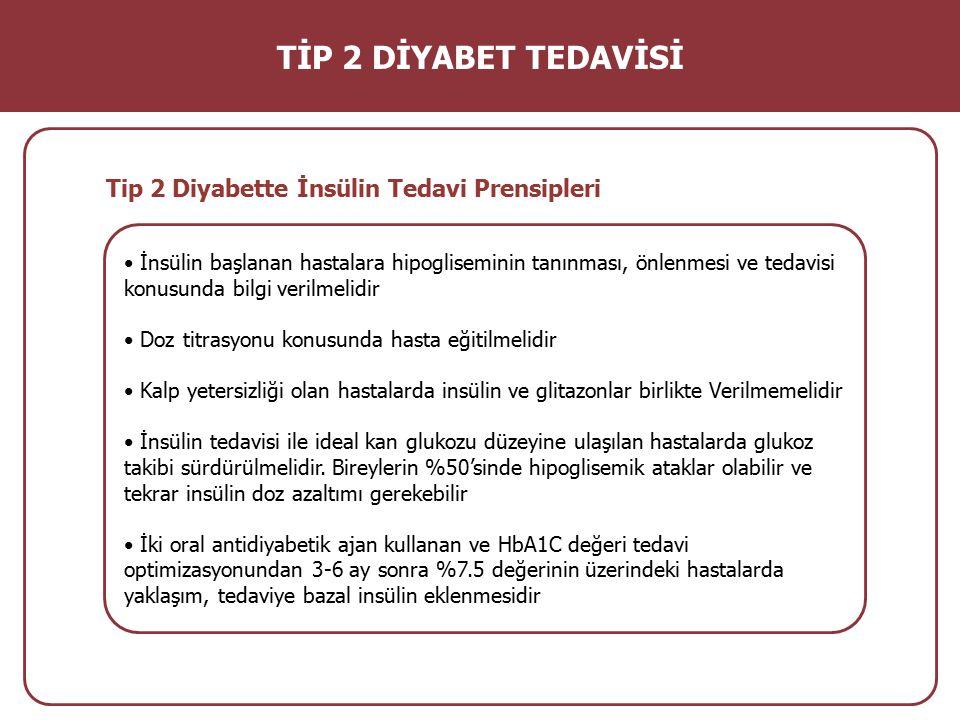 İnsülin başlanan hastalara hipogliseminin tanınması, önlenmesi ve tedavisi konusunda bilgi verilmelidir Doz titrasyonu konusunda hasta eğitilmelidir K