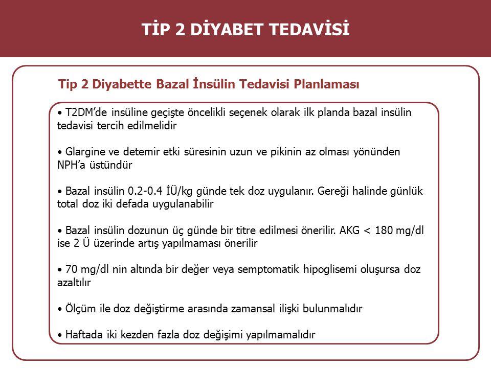 T2DM'de insüline geçişte öncelikli seçenek olarak ilk planda bazal insülin tedavisi tercih edilmelidir Glargine ve detemir etki süresinin uzun ve piki