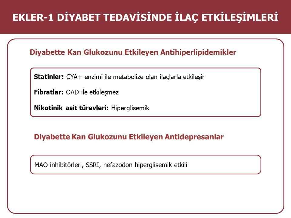 Diyabette Kan Glukozunu Etkileyen Antihiperlipidemikler Statinler: CYA+ enzimi ile metabolize olan ilaçlarla etkileşir Fibratlar: OAD ile etkileşmez N