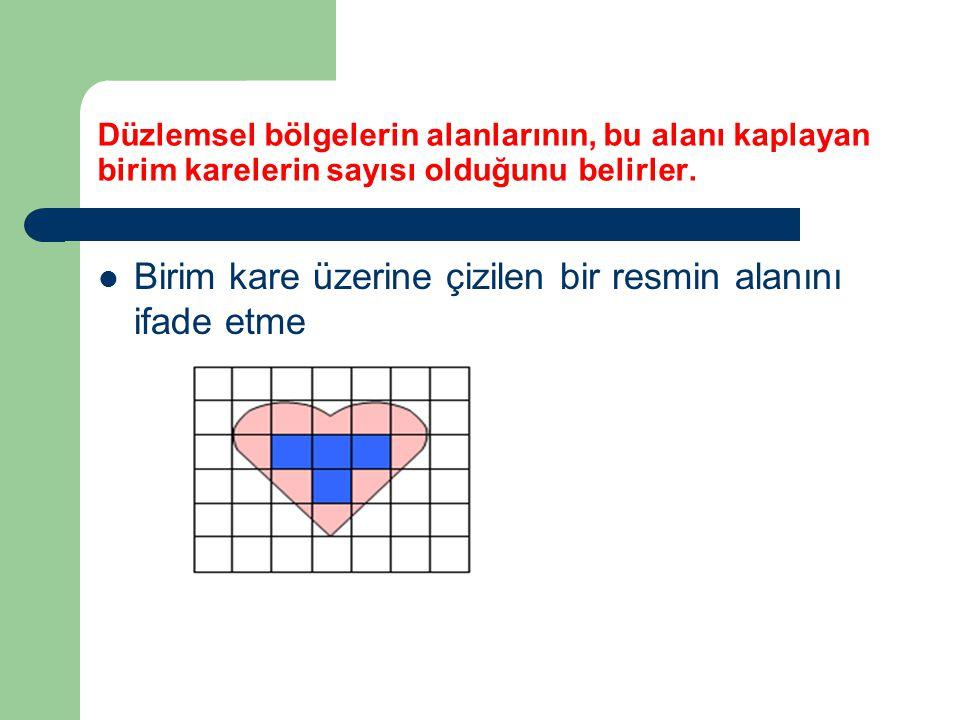 Düzlemsel bölgelerin alanlarının, bu alanı kaplayan birim karelerin sayısı olduğunu belirler. Birim kare üzerine çizilen bir resmin alanını ifade etme