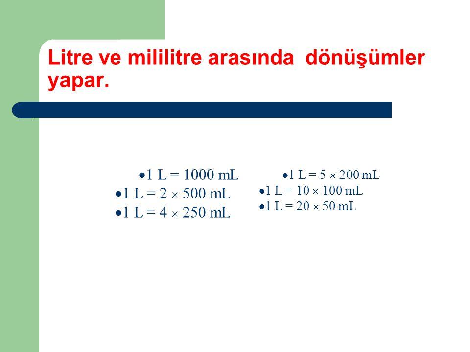 Litre ve mililitre arasında dönüşümler yapar.  1 L = 1000 mL  1 L = 2  500 mL  1 L = 4  250 mL  1 L = 5  200 mL  1 L = 10  100 mL  1 L = 20
