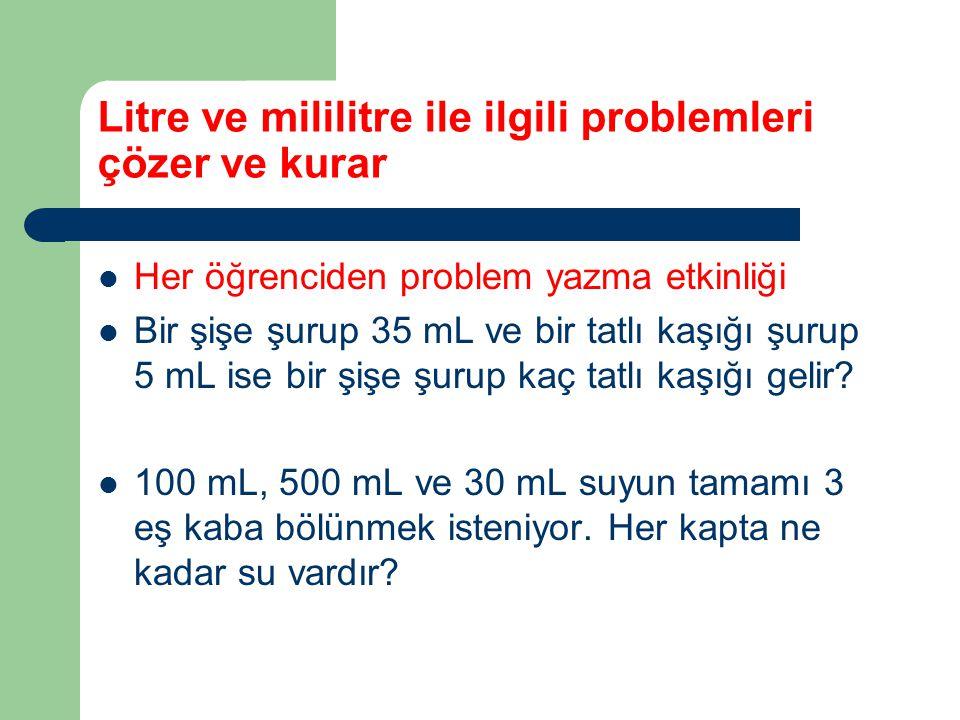 Litre ve mililitre ile ilgili problemleri çözer ve kurar Her öğrenciden problem yazma etkinliği Bir şişe şurup 35 mL ve bir tatlı kaşığı şurup 5 mL is