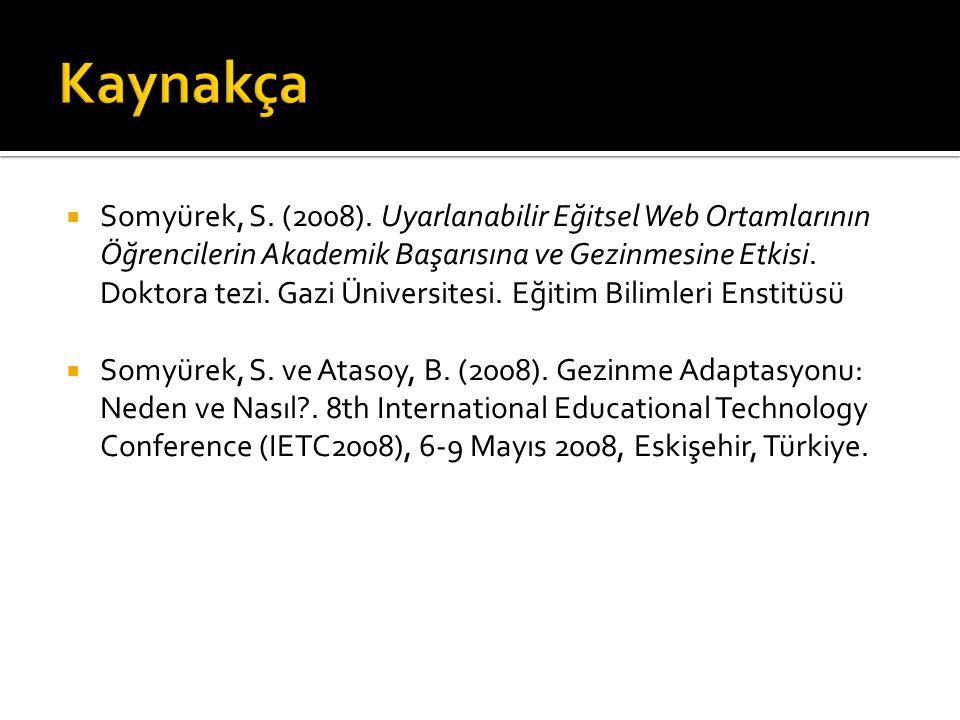  Somyürek, S. (2008). Uyarlanabilir Eğitsel Web Ortamlarının Öğrencilerin Akademik Başarısına ve Gezinmesine Etkisi. Doktora tezi. Gazi Üniversitesi.