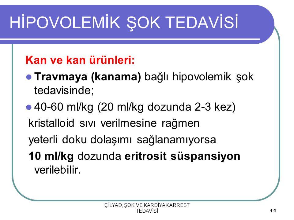 ÇİLYAD, ŞOK VE KARDİYAK ARREST TEDAVİSİ 11 HİPOVOLEMİK ŞOK TEDAVİSİ Kan ve kan ürünleri: Travmaya (kanama) bağlı hipovolemik şok tedavisinde; 40-60 ml/kg (20 ml/kg dozunda 2-3 kez) kristalloid sıvı verilmesine rağmen yeterli doku dolaşımı sağlanamıyorsa 10 ml/kg dozunda eritrosit süspansiyon verilebilir.