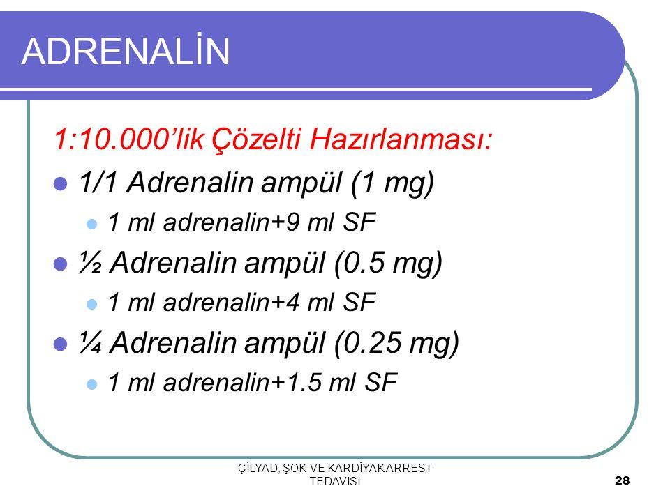 ÇİLYAD, ŞOK VE KARDİYAK ARREST TEDAVİSİ 28 ADRENALİN 1:10.000'lik Çözelti Hazırlanması: 1/1 Adrenalin ampül (1 mg) 1 ml adrenalin+9 ml SF ½ Adrenalin ampül (0.5 mg) 1 ml adrenalin+4 ml SF ¼ Adrenalin ampül (0.25 mg) 1 ml adrenalin+1.5 ml SF